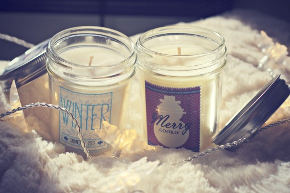merry cookie and winter candles