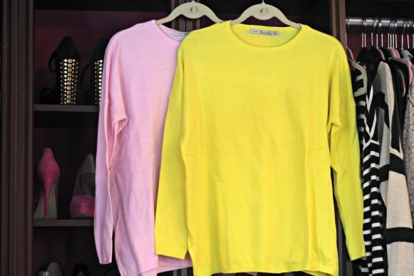 Zara basic long sweater pink and yellow