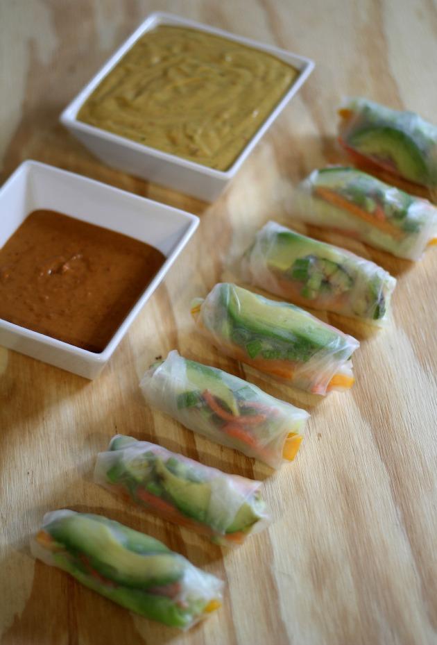 Veggie rice paper rolls vegan