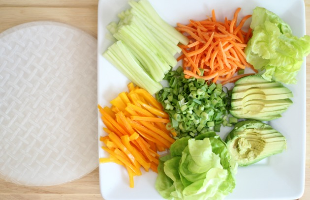 ingredients for veggie rice paper rolls