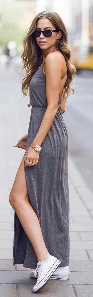 dress and white converse