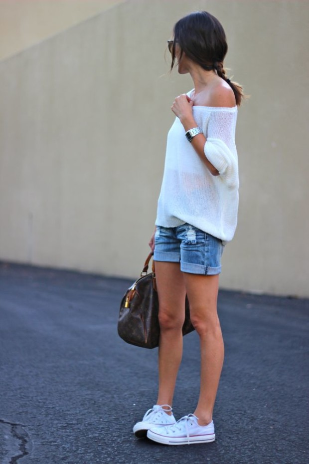 white converse and shorts