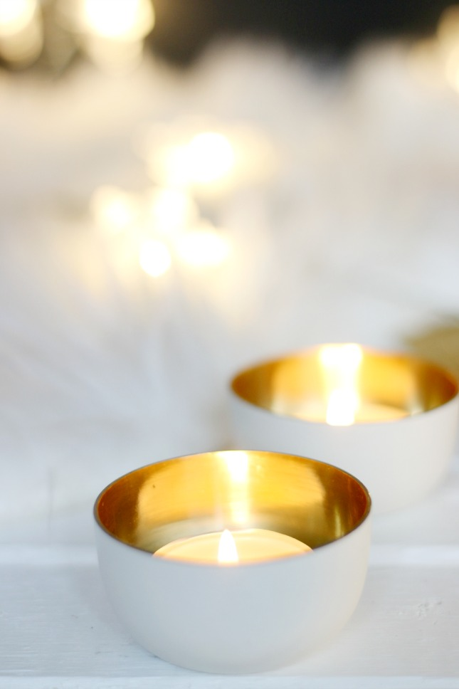 H&M gold tea light holders