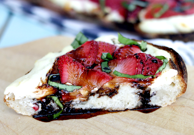 strawberry ricotta with basil and balsamic reduction