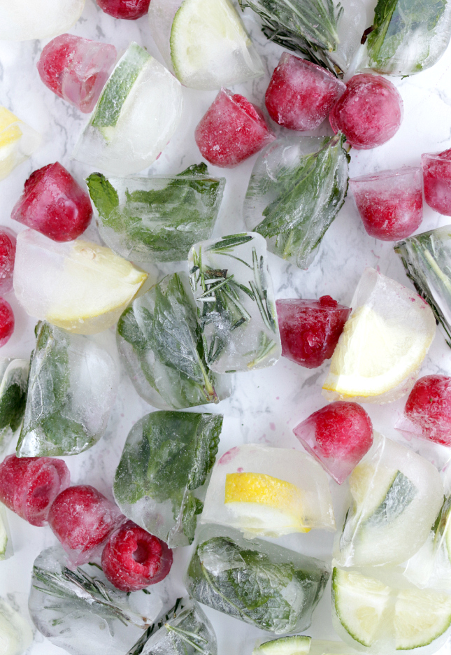 Fruit and herb colorful ice