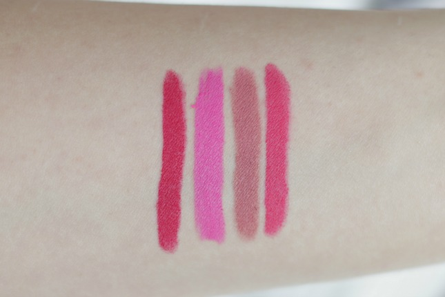 swatches of Maybelline Color Blur Cream Matte Lip Pencils